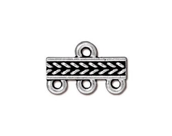 2 Antique Silver Links Tierra Cast 3-1 Three Strand Connector Braided Pattern Double Sided 15x10mm Two Connectors 2 pcs F545C