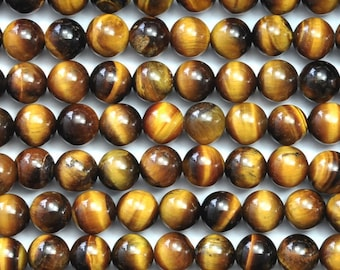 Tiger Eye 6mm Gemstone Rounds Approx 34 beads 8 Inch strand