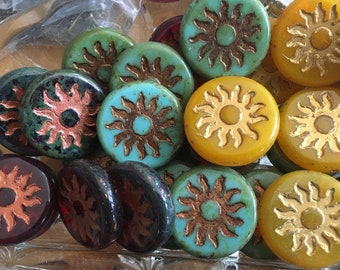 Sun Beads Chunky Coin Carved Czech Pressed Glass Table Cut Beads Choose Transparent Red Copper Turquoise Picasso or Yellow Gold