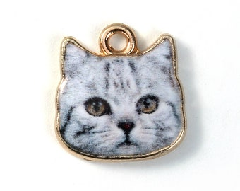 Grey Cat Charms Single Sided Animal Charms with Gold Plating 13x13mm 4 pcs