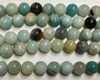 Amazonite Black Gold Gemstone Rounds Beads 10mm Approx 20 pcs per 8 inch strand