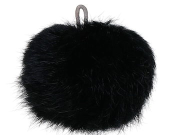 "Black Angora Pom Pom with Loop for Craft Projects Hat Decoration Knitting Crochet 80mm (3 1/8"") One Pom Pom"