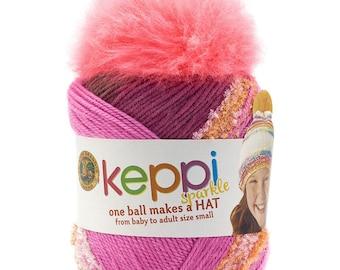 Keppi Yarn Crochet Hat Kit Rose Sparkle Kids Teens Hat Kit Top This by Lion Brand