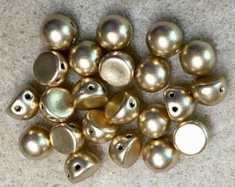 Matte Metallic Flax Gold CzechMates 7mm Cabochon Glass Beads 22 beads