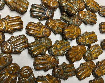 Clearance 12 Hamsa Hand Orange Bronze Picasso Czech Glass Beads Hand of Fatima 14mm x 20mm 12 beads