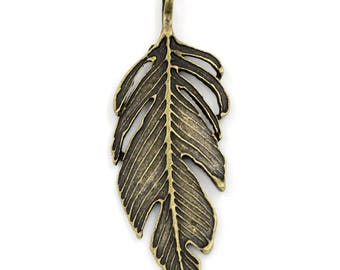 Clearance Feather Pendant Charm Antique Bronze Double Sided 60x24mm C196B