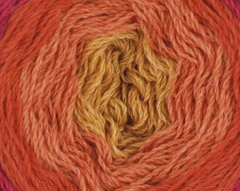 Shades of Red Orange Gold United Foursome Yarn Cake Lambswool Cotton by Queensland Collection Sport Weight Certified Organic 1531 yards