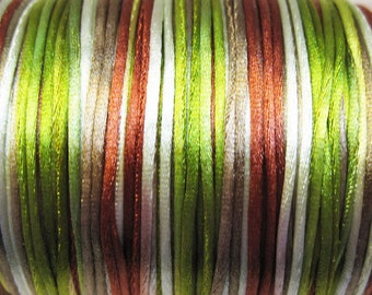 A Walk in the Forest Variegated Satin Rattail Cord 1mm 6 yards for Macrame Kumihimo Knotting