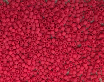 11/0 Frosted Cherry Red Japanese Seed Beads 6 Inch Tube 28 grams #F408