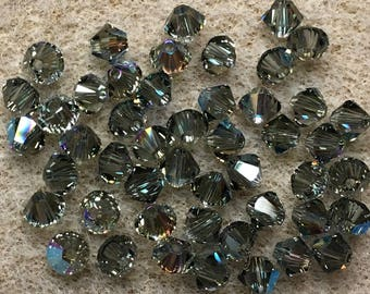 Black Diamond Shimmer 5328 Bicone Swarovski Crystal Beads 4mm 24 beads