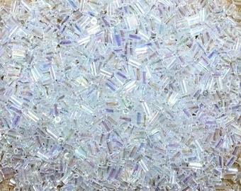 Crystal Rainbow Transparent Japanese Glass Bugle Beads 3mm 28 grams #250
