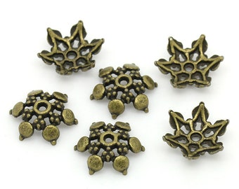 Flower Bead Caps Antique Bronze Tone Zinc Based Alloy Flower Caps Fits 14mm Beads 12x11mm 20 pcs F279