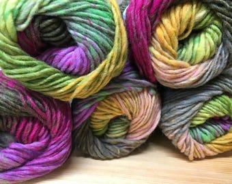 Lime Hot Pink Orange Multi Noro Kureyon 110 yards 100% Wool color 95