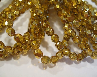 Crystals 6mm Apricot Metallic Ice Czech Glass Fire polished Crystal Beads