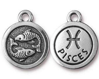 Pisces Zodiac Antique Silver Charm TierraCast Zodiac Sign Astrology Charm Lead Free Pewter 18.75x15.75mm One Charm