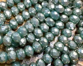 Seafoam Aqua with Mercury Look Metallic Finish Czech Pressed Glass Large Faceted Rondelles 6mm x 8mm 25 beads