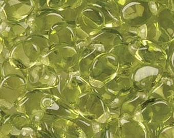 Pip Light Olivine Green Transparent Czech Pressed Glass Drop Beads 5x7mm 60 pcs