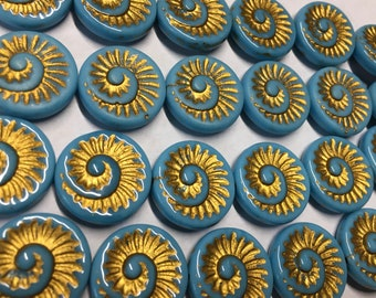6 Opaque Turquoise Blue Spiral Beads with Gold Detail Czech Glass Round Coin Ammonite Nautilus Shell Swirl Beads 18mm 6 pcs