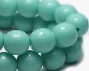 Druk Beads Tiffany Green Opaque 6mm Czech Pressed Glass Round Druk Beads 25 breads