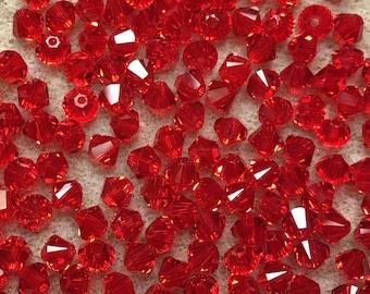 Light Siam 5328 Bicone Swarovski Crystal Beads 4mm