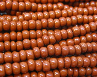 6/0 Brown Opaque Genuine Czech Glass Preciosa Rocaille Seed Beads One Strand 12 grams