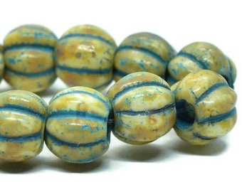 8mm Large Hole Melon Beads Honey with Picasso Finish and Turquoise Wash 20 pcs