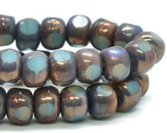 Trica Beads Medium Sky Blue and Beige with Bronze Finish Czech Pressed Glass Rondelles Beads 4x3mm 50 beads