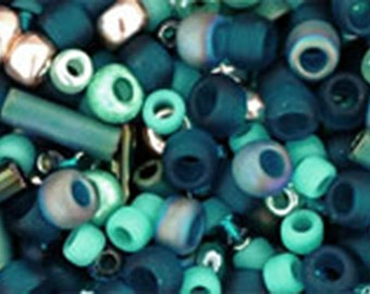 Teal Mix Toho Glass Seed Beads 2.5 inch tube 8 grams TX-01-3222