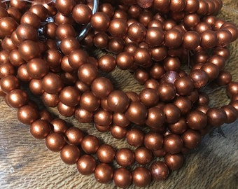 30 Red Copper Matte Czech Pressed Glass Round Druk Beads 6mm