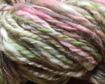 Prairie Spring Hand-spun Yarn Wool Blend for Weaving Knitting Crochet Bulky Weight 3 ply by Housecats Hats 218 yards
