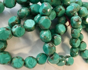 Blue Green with Picasso Finish Table Cut 12mm Faceted Czech Glass Rounds 15 beads