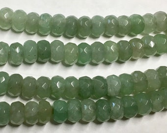 Green Aventurine Faceted Gemstone Rondelles Beads 8x5mm Approx 38 pcs per 8 inch strand
