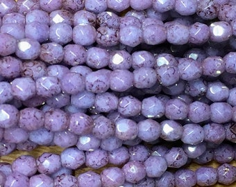 4mm Lilac Purple with Picasso Czech Glass Firepolished Crystal Beads 50 beads