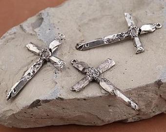 Cross Quartz Points Cross Focal 29x49mm Antique Silver Finish Zola Elements Religious Pendant 1 pendant F223E