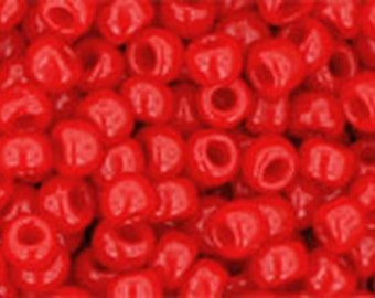 8/0 Opaque Cherry Red Toho Glass Seed Beads 2.5 inch tube 8 grams TR-08-45A