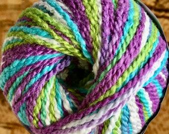 Fixation Yarn Hawaiian Splendor Multi Color Spray Dyed by Cascade DK Weight 100 yards Aqua Purple Green Cotton Spandex Color 9442