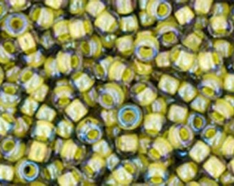 11/0 Luster Black Diamond Opaque Yellow Lined Toho Glass Seed Beads 2.5 inch tube 8 grams TR-11-246