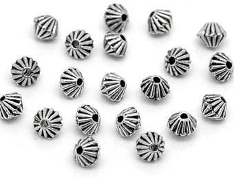 Corrugated Antique Silver Bicone Spacer Saucer Beads 5mm x 4mm 50 pcs F319A