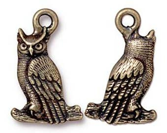 Owl Charm Antique Bronze Night Bird Pendant Charm TierraCast Lead Free Pewter 22mm x 14mm 1 pc F397BB