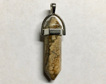 Picture Jasper Gemstone Pendulum Pendant with Bail Double Sided 40mm Overall Length 1 pendant
