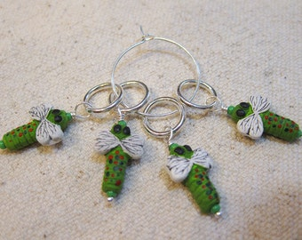 Little Green Dragonfly Bead Knitting Stitch Markers Set of 4