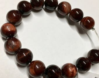 Red Tiger Eye AB 12mm Gemstone Rounds Approx 16 beads 8 Inch strand