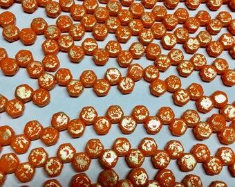 Honeycomb Beads Gold Splash Orange Czech Pressed Glass Hexagon Two Hole Beads 6mm 30 beads