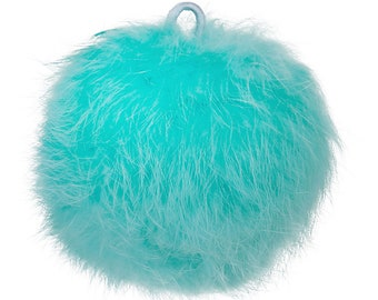 "2 Mint Green Angora Pom Pom Ball with Loop for Craft Projects Hat Decoration Knitting Crochet 80mm (3 1/8"") 2 pcs"