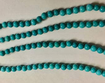 White Howlite Dyed Turquoise Blue 4mm Gemstone Round Beads Approx 47 Beads
