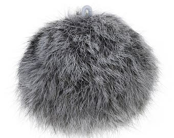 """Grey Angora Pom Pom with Loop for Craft Projects Hat Decoration Knitting Crochet 80mm (3 1/8"""")"""