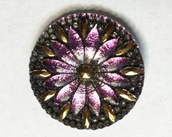 Light Pink Vitrail 12 Petal Flower Button Czech Glass with Gold Detail with Criss Cross Shank 31mm