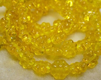 Clearance Daisy Flower Beads Yellow Transparent Czech Pressed Glass Flat Daisy Flowers 9mm 20 Beads