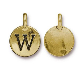"Letter ""W"" Initial Pendant Tiny Gold Charm TierraCast Antique Gold Alphabet Charms TierraCast Lead Free Pewter 16.5x11.5mm One Charm"