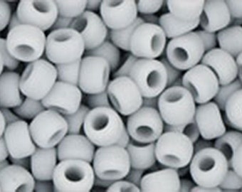 8/0 Opaque Frosted Gray Toho Glass Seed Beads 2.5 inch tube 8 grams TR08-53F